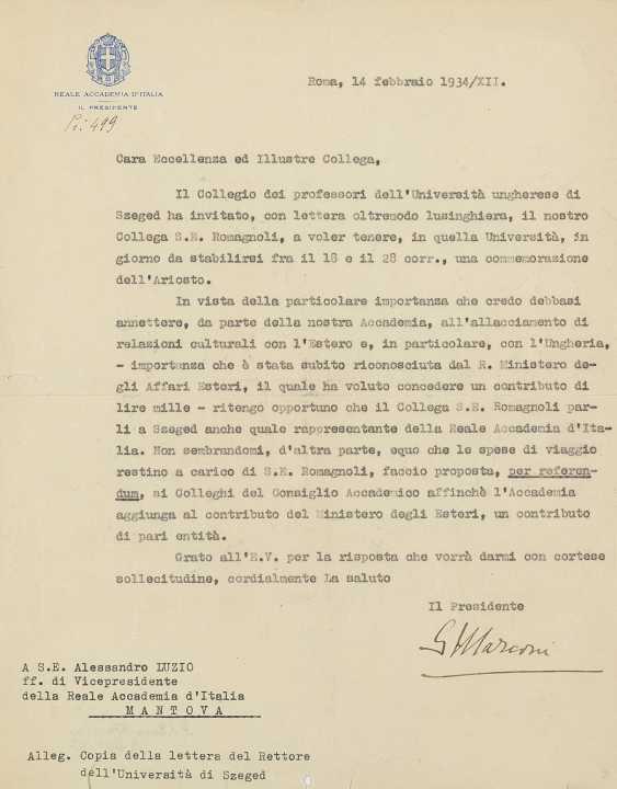 MARCONI Guglielmo (1874-1937) - Lettera dattiloscritta firmata in qualità di Presidente della Reale Accademia d'Italia - photo 1