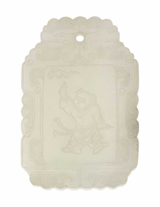 A CHINESE WHITE JADE PLAQUE - photo 1