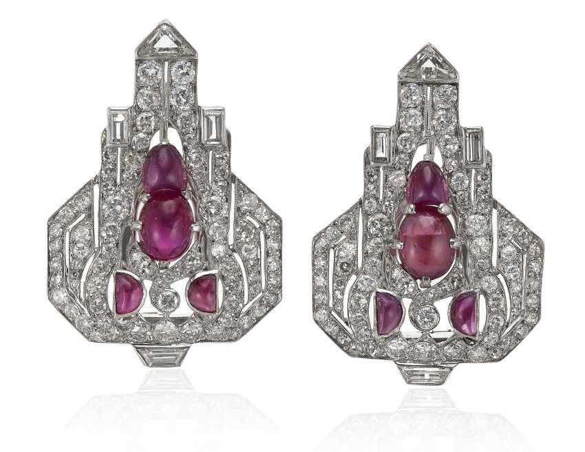PAIR OF RUBY AND DIAMOND CLIP BROOCH-EARRINGS - photo 1