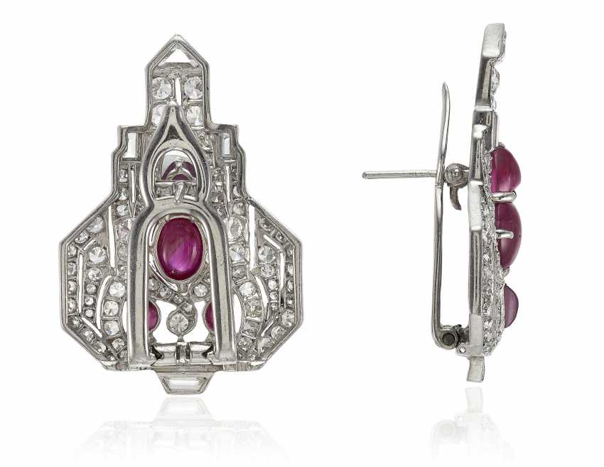 PAIR OF RUBY AND DIAMOND CLIP BROOCH-EARRINGS - photo 2