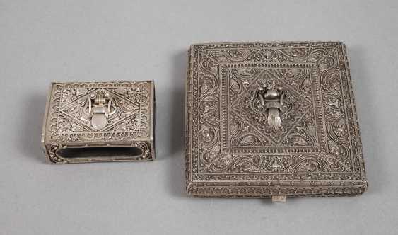 Cigarette case and match box, silver - photo 1