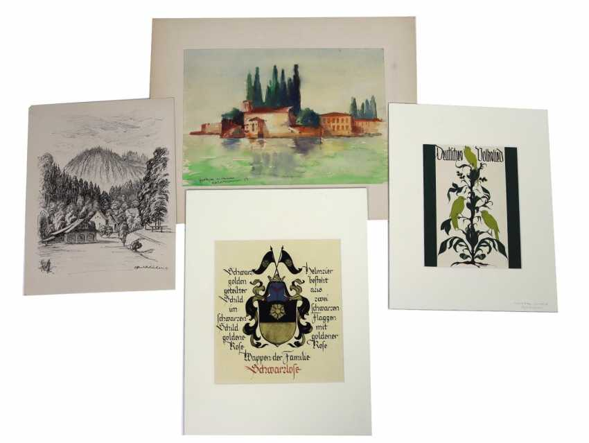 4 drawings - signed - photo 1