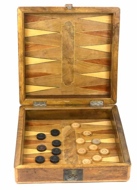 large inlaid wood game box 19. Century - photo 2