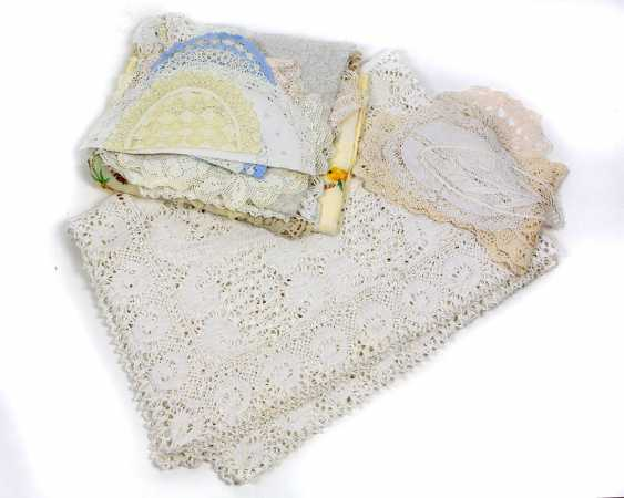 large lace blanket and doilies, among other things, - photo 1