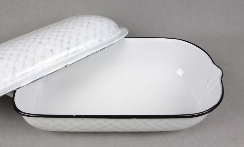 enamel roasting dish honeycomb pattern lined - photo 2