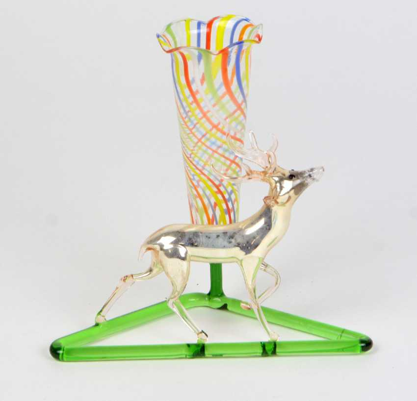 Lauschaer glass vase with deer - photo 1