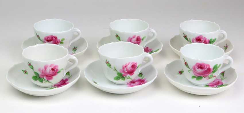 Meissen 6 Mokkagedecke *Rose Rouge* - photo 1