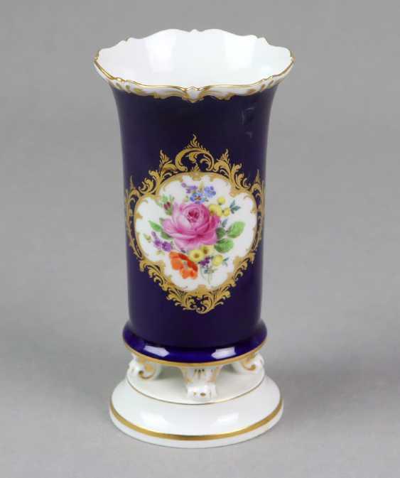 Meissen Cobalt Feet Vase *Flower Bouquet* - photo 1