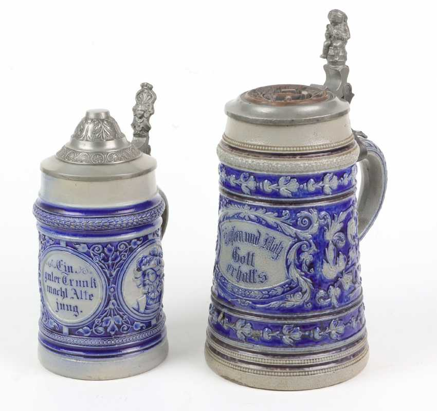2 historicism jars with tin lid 1880 - photo 1