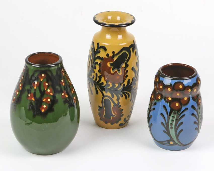 3 art Nouveau ceramic vases, around 1910/20 - photo 1
