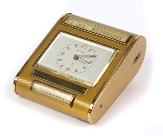 *Europe* table clock/ alarm clock with calendar, 1950s - photo 1
