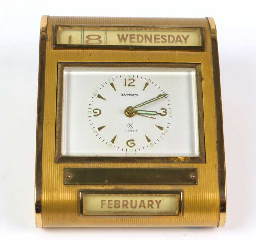 *Europe* table clock/ alarm clock with calendar, 1950s - photo 2