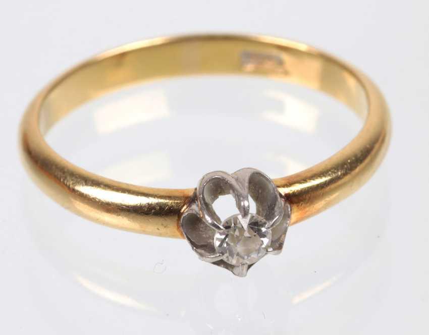 Diamond solitaire Ring - yellow-gold/WG 585 - photo 1