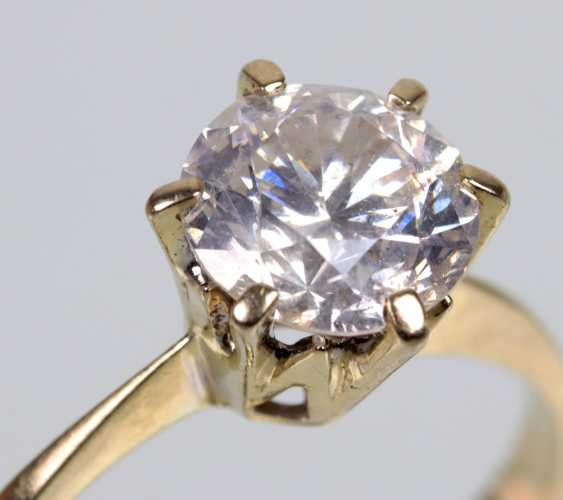 Ring brilliant solitaire of 1.25 ct white gold 750 - photo 1