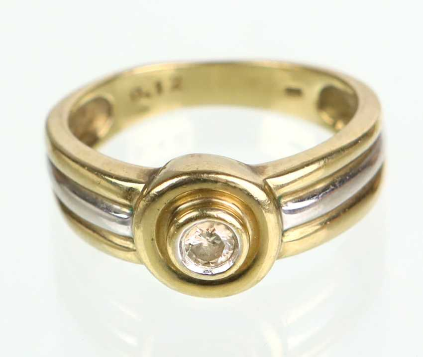 Ring - yellow gold/WG 333 brilliant solitaire - photo 1