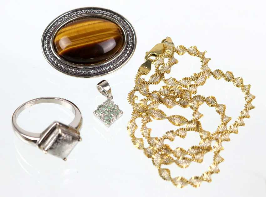 Silver necklace - yellow gold, 585 gold-plated, among other things, - photo 1