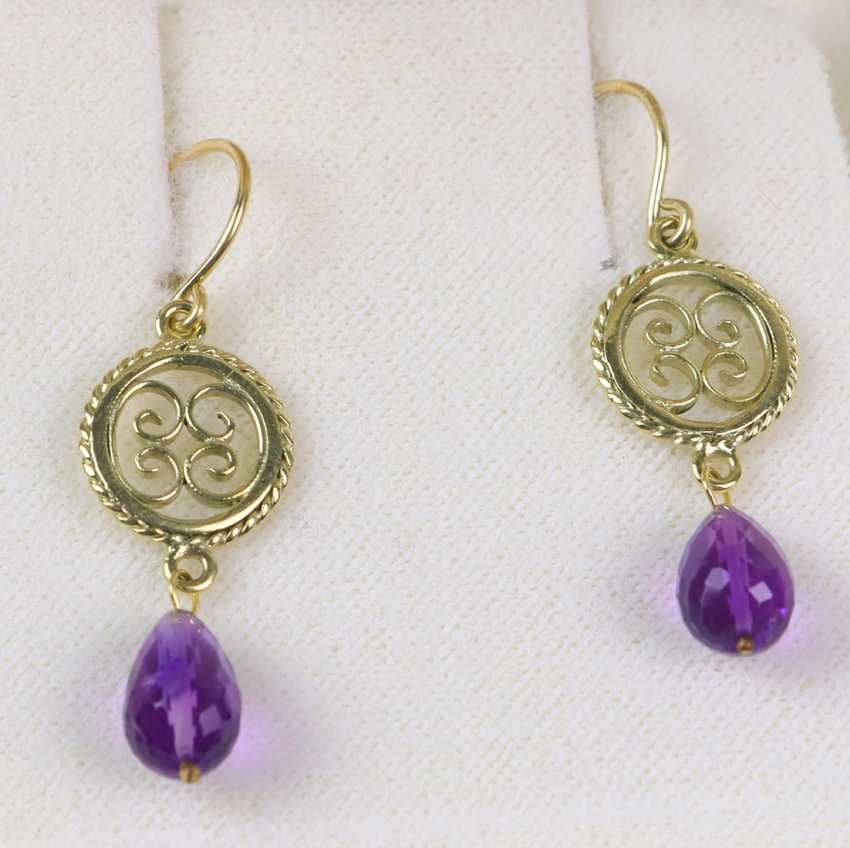Earrings with Amethyst drops - yellow gold 585 - photo 1