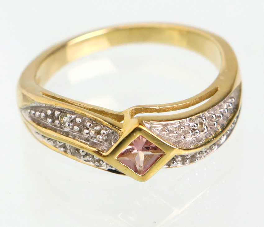 Imperial Topaz Ring with white sapphires - yellow gold 375 - photo 1