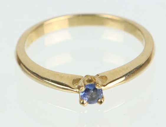 Ring mit Saphir - Gelbgold 375 - Foto 1