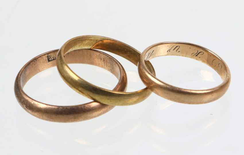 3 wedding rings - yellow gold 333, among other things, - photo 1
