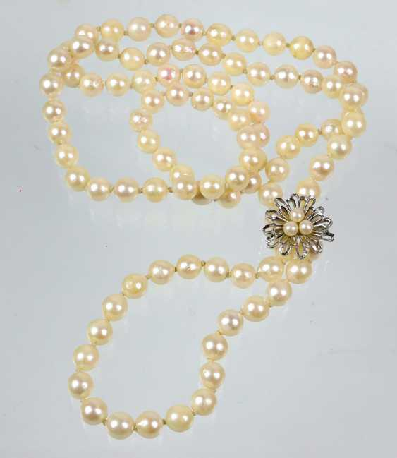 large Akoya pearl necklace with chain shortener - photo 1