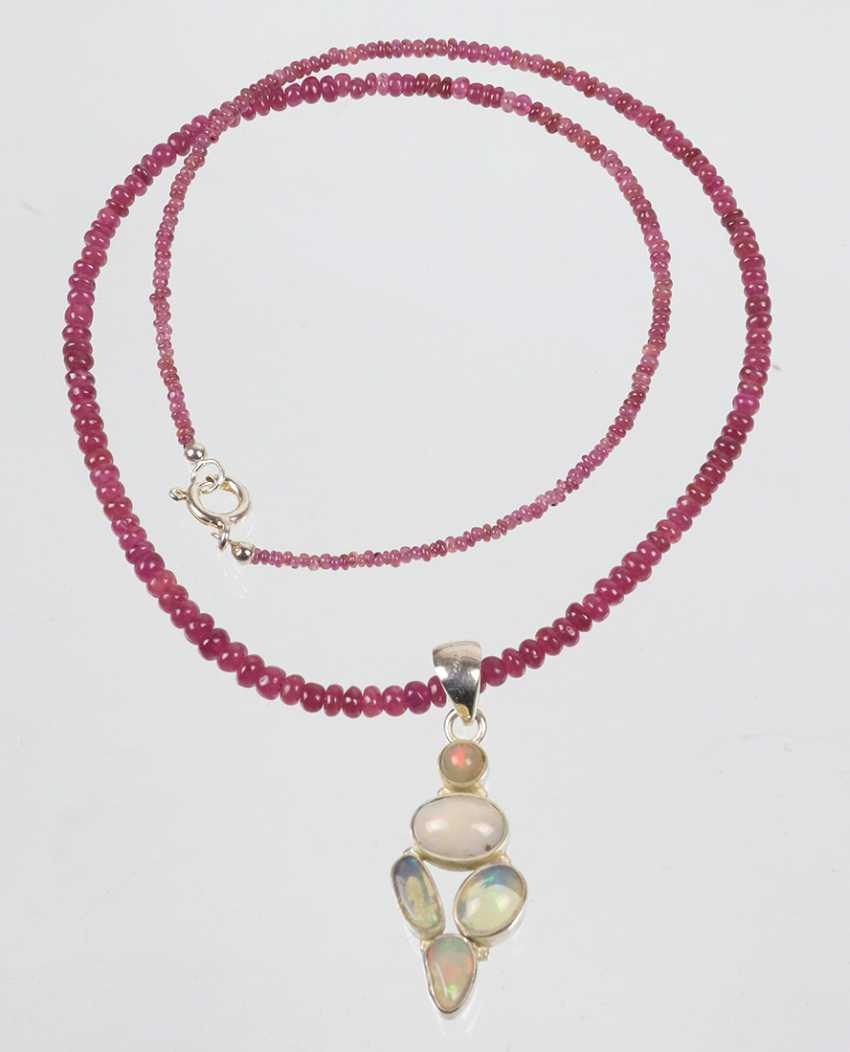 Ruby necklace with opal pendant - photo 1