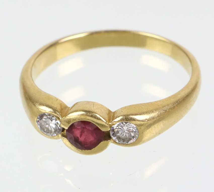 Rubin Brillant Ring - Gelbgold 750 - photo 1