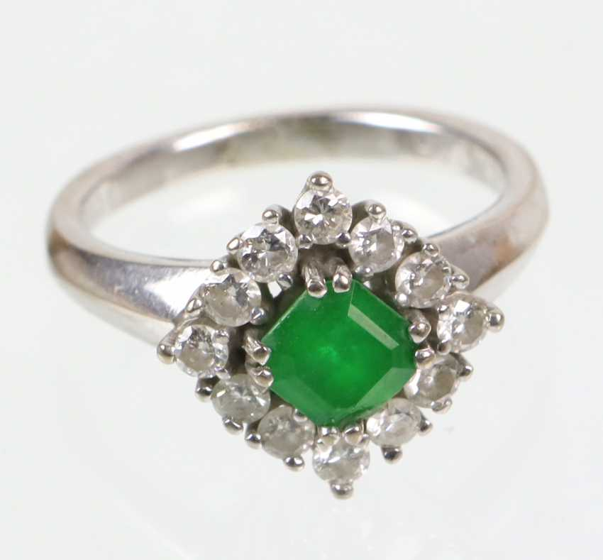 Emerald Diamond Ring - White Gold 585 - photo 1