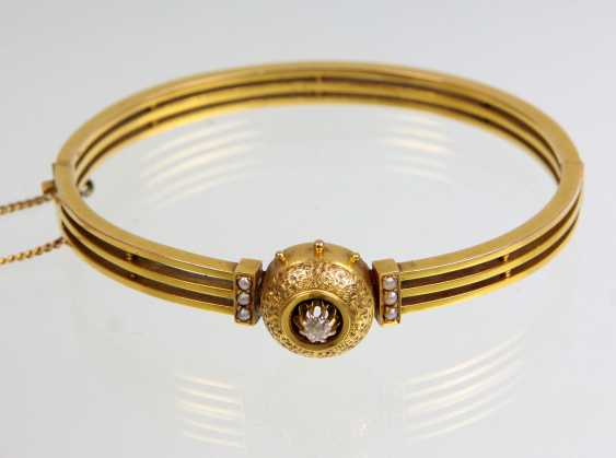 antique bangle with diamonds - yellow gold 560 - photo 1