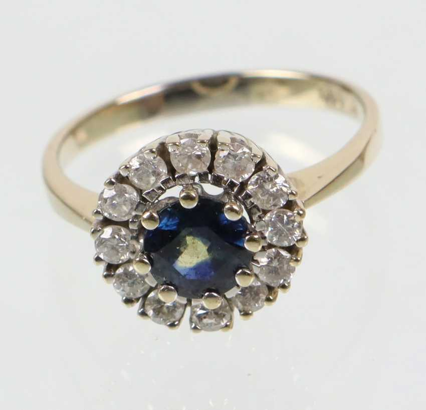 Sapphire Diamond Ring - White Gold 585 - photo 1