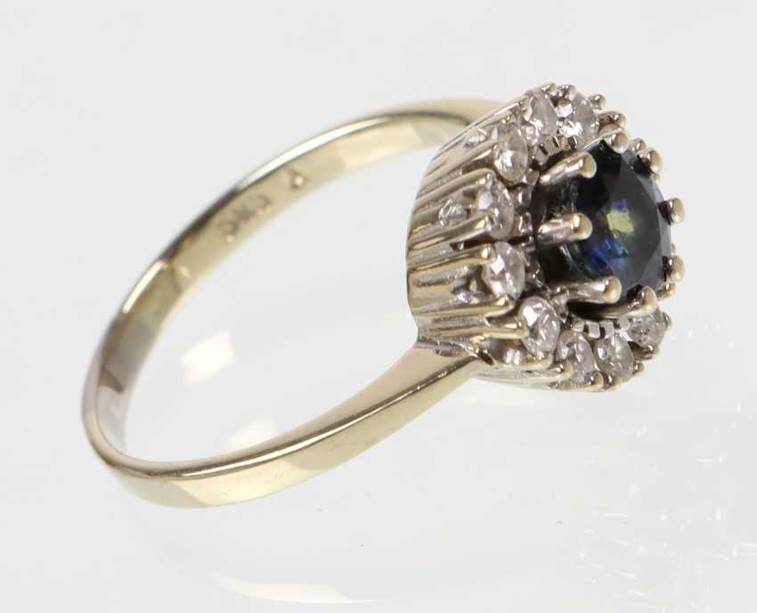 Sapphire Diamond Ring - White Gold 585 - photo 2
