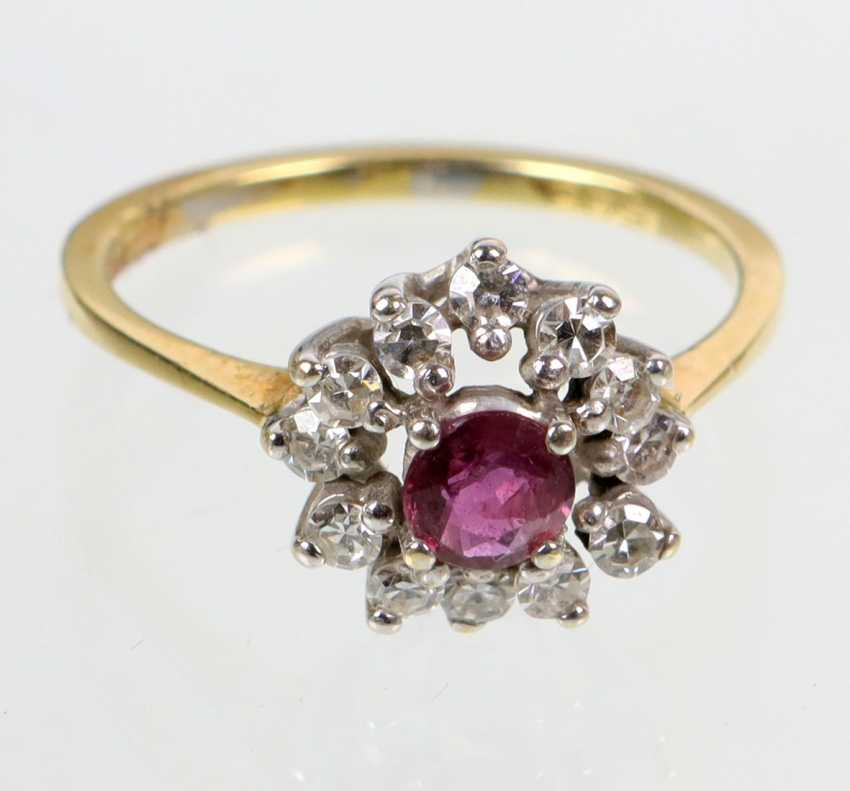 Rubin Brillant Ring - Gelbgold/WG 585 - photo 1