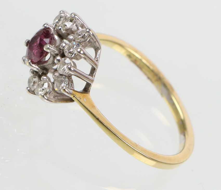 Rubin Brillant Ring - Gelbgold/WG 585 - photo 2