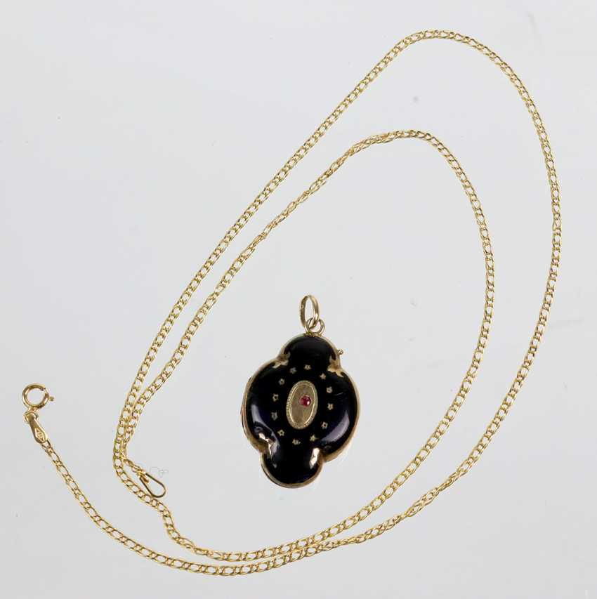 antique enamel pendant at the end of 19th century. Century, Yellow Gold 585 - photo 1