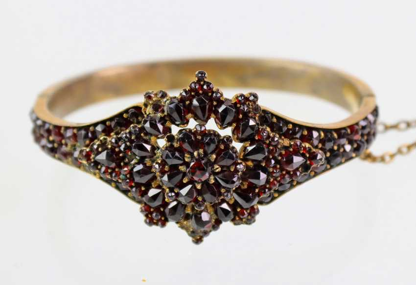 Garnet bangle bracelet 1900's - photo 1