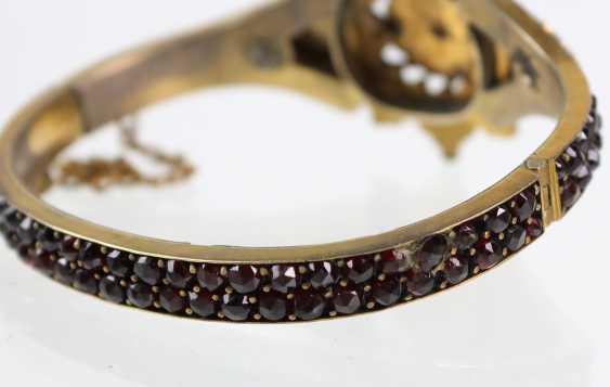 Garnet bangle bracelet 1900's - photo 2