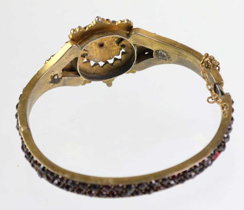 Garnet bangle bracelet 1900's - photo 4