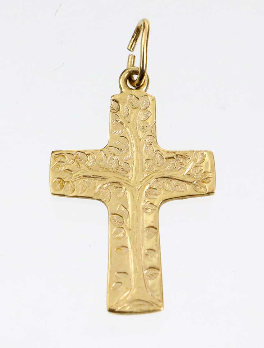 engraved cross pendant yellow gold 375 - photo 1