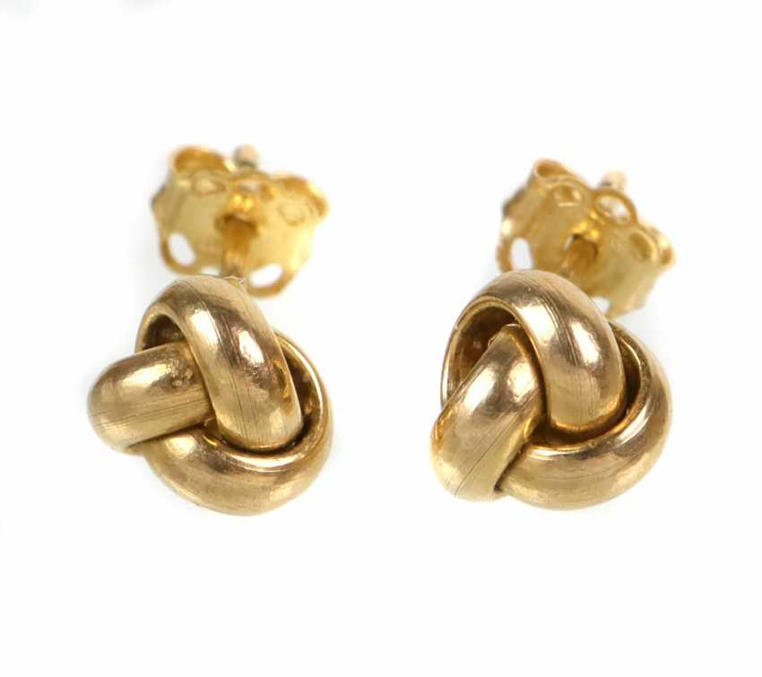 Knot Stud Earrings - Yellow Gold 375 - photo 1