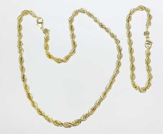 gold-plated cord necklace and bracelet - photo 1