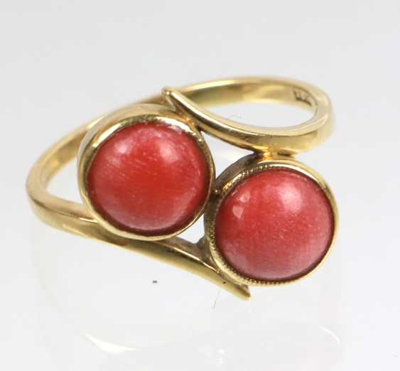 Art Deco Twin Coral Ring Yellow Gold 585 - photo 1