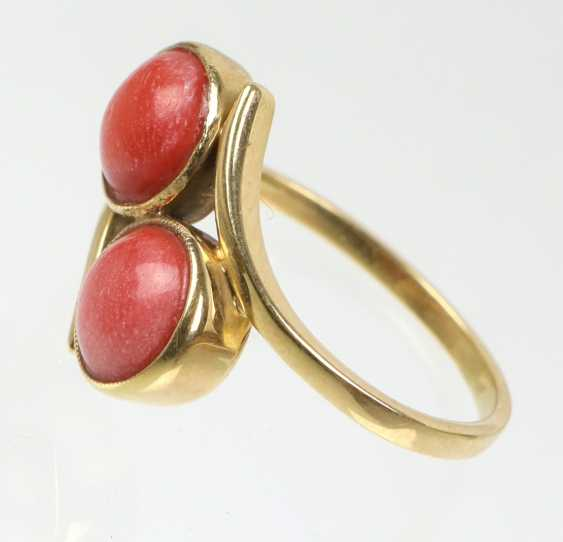 Art Deco Twin Coral Ring Yellow Gold 585 - photo 2