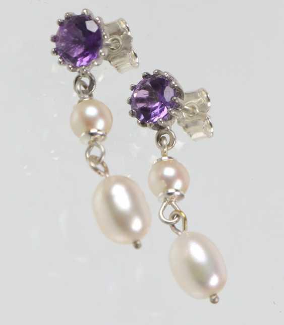 Amethyst Pearl Earrings - photo 1