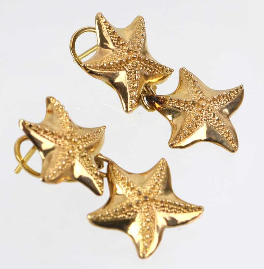 Starfish Stud Earrings - Yellow Gold 585 - photo 2