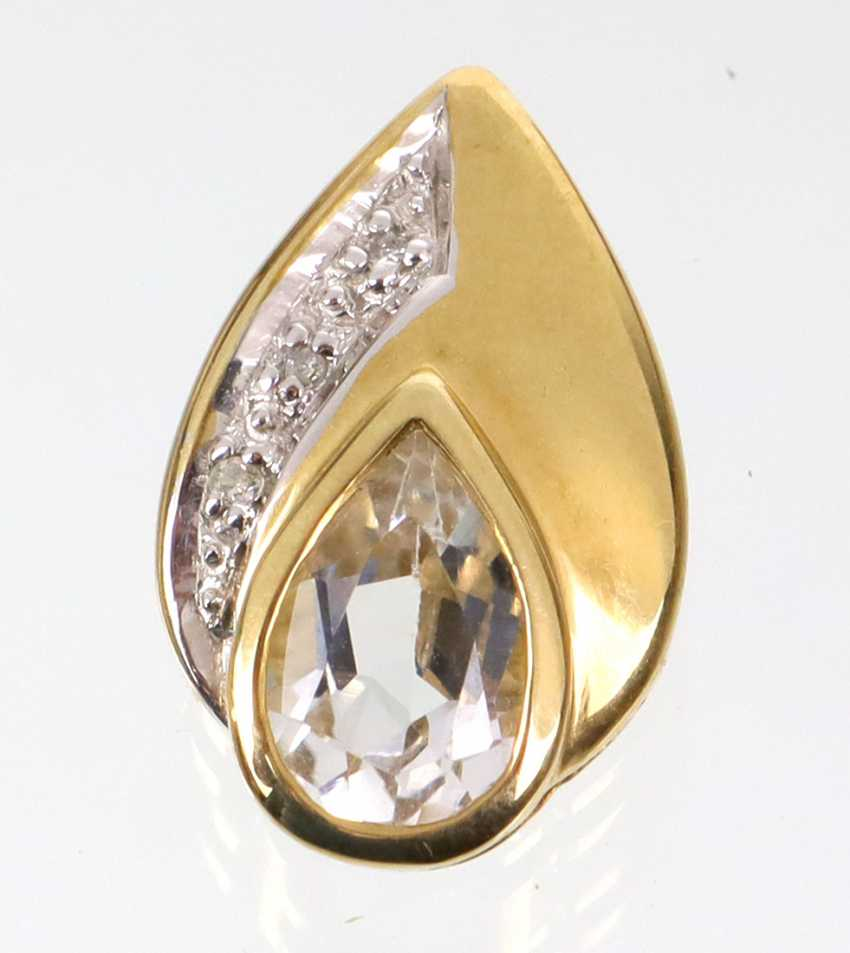 Blue Topaz Brillant pendant yellow-gold/WG 375 - photo 1