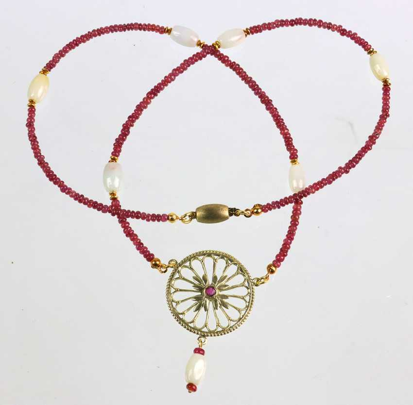 Ruby necklace with Jade - photo 2