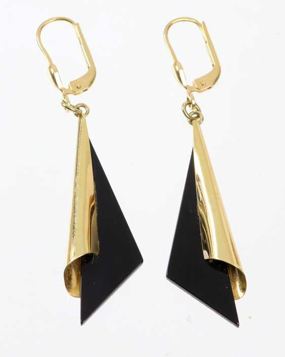 Onyx Drop Earrings - Yellow Gold 585 - photo 1
