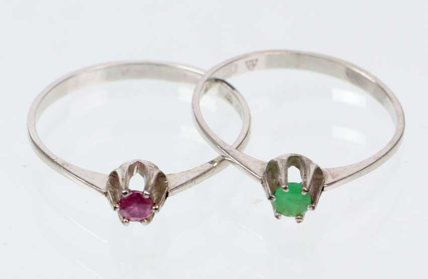 2 sterling silver rings with emerald & ruby - white gold 333 - photo 1