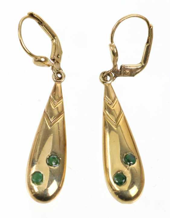 Emerald Earrings - Yellow Gold 333 - photo 1