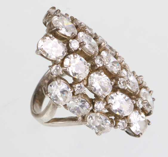 Cocktail Ring with 37 cubic Zirconia - silver - photo 2